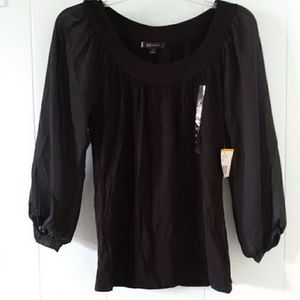 NWT anne klein black top with quarter sleeves